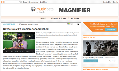 magLarge Google just launched a new music discovery site called Magnifier